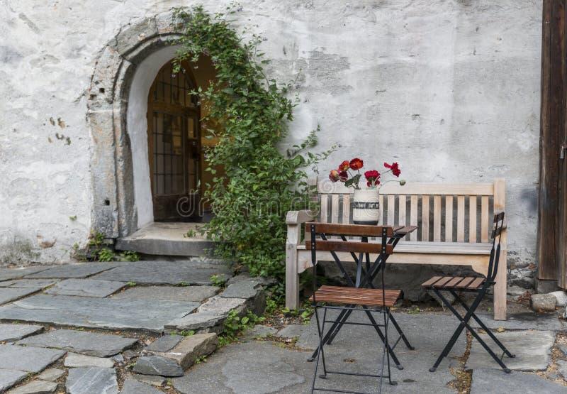 Vieille terrasse à Bergen Norvège images libres de droits