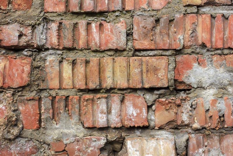Vieille texture de mur de briques de vintage Le blanc rouge grunge monopolisent la parole le fond Surface affligée de mur Brickwa photos stock