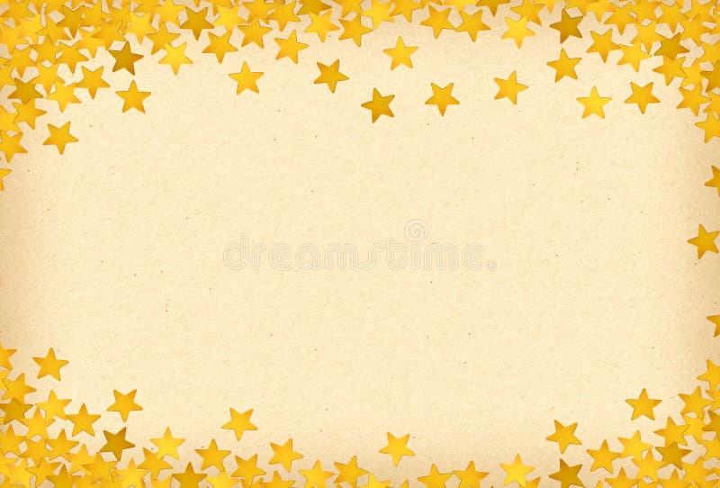 Vieille texture de papier avec les étoiles d'or, fond de Noël illustration de vecteur