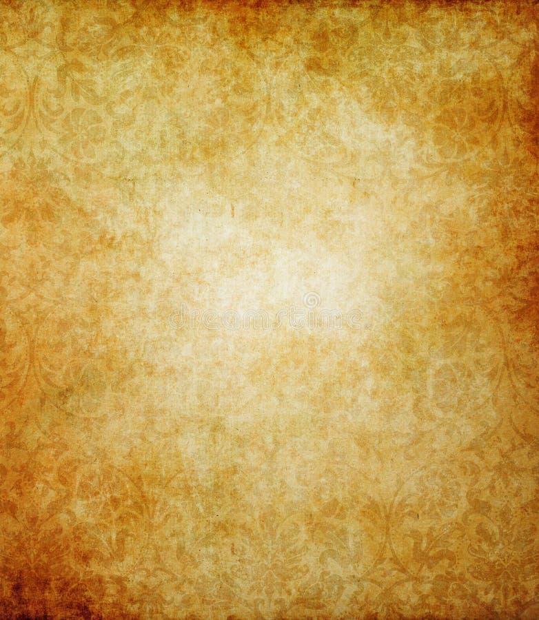 Vieille texture de papier grunge avec l'ornement floral illustration stock