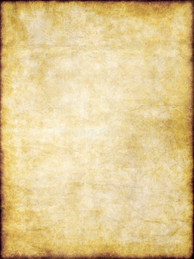 Vieille texture de papier parcheminé de cru de brun jaune illustration libre de droits