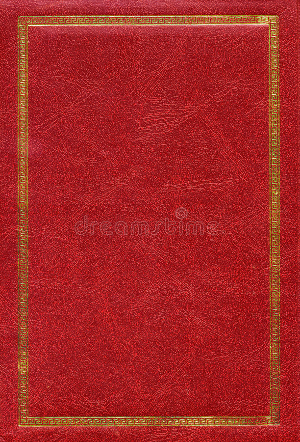 Vieille texture en cuir rouge avec la trame décorative d'or photos libres de droits