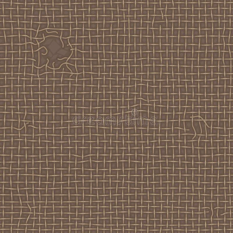 Vieille texture en lambeaux réaliste de toile de jute brune Toile déchirée, modèle sans couture illustration libre de droits