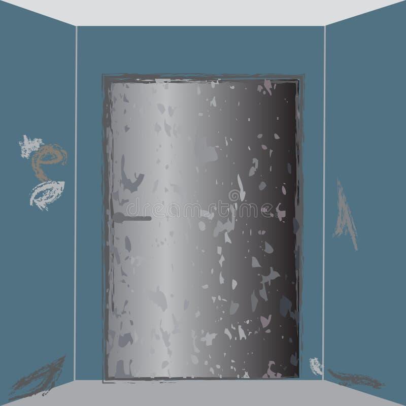 Vieille trappe en métal illustration de vecteur