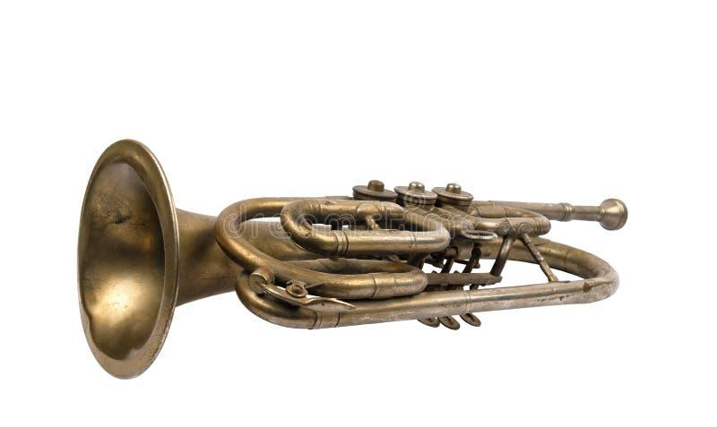 Vieille trompette d'or photo stock