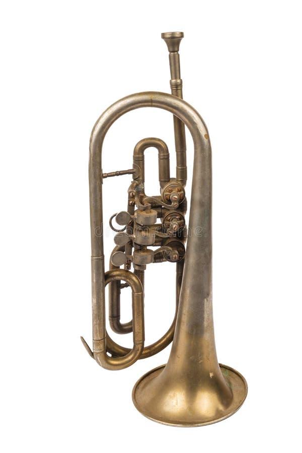 Vieille trompette d'or images libres de droits