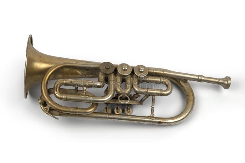 Vieille trompette d'or photographie stock libre de droits