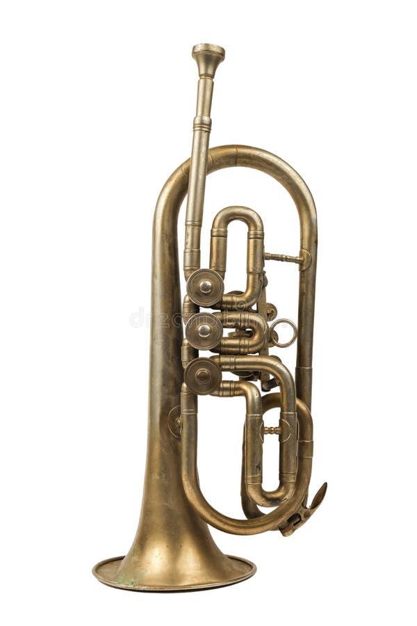 Vieille trompette d'or image libre de droits