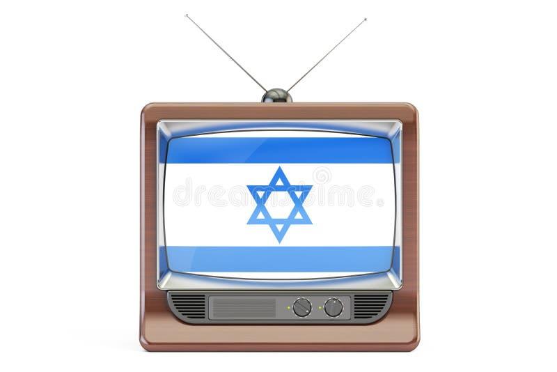 Vieille TV avec le drapeau de l'Israël Concept israélien de télévision, rende 3D illustration de vecteur