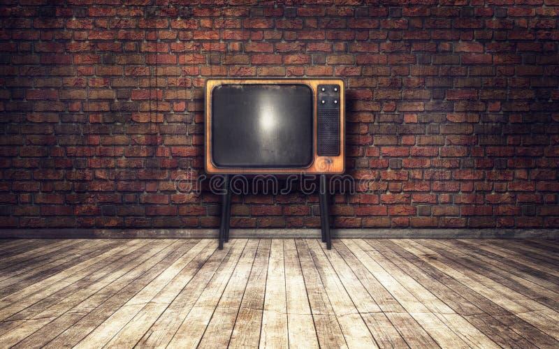 Vieille TV dans la chambre illustration libre de droits