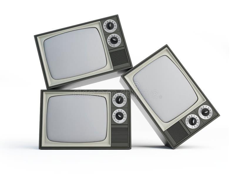 Vieille TV noire et blanche illustration de vecteur