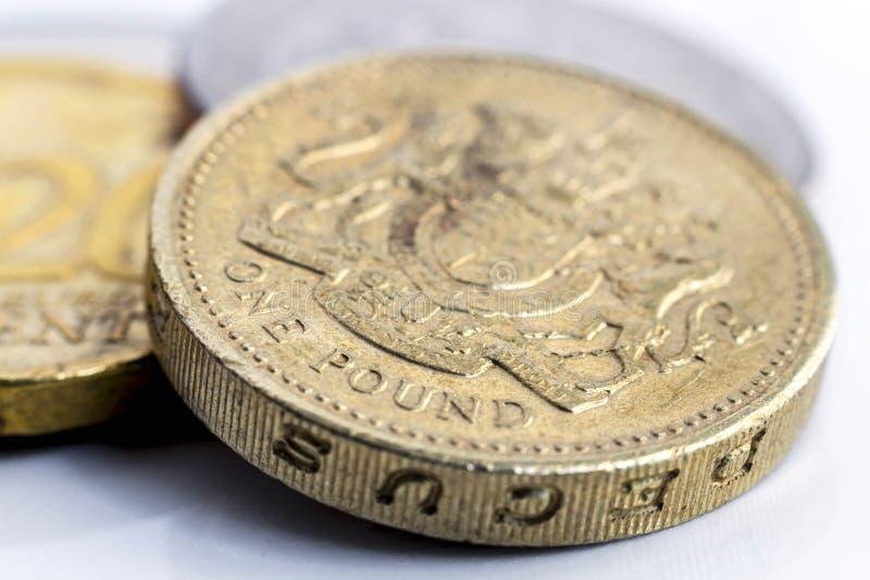 Vieille une pièce de monnaie de livre avec l'euro pièce de monnaie image libre de droits