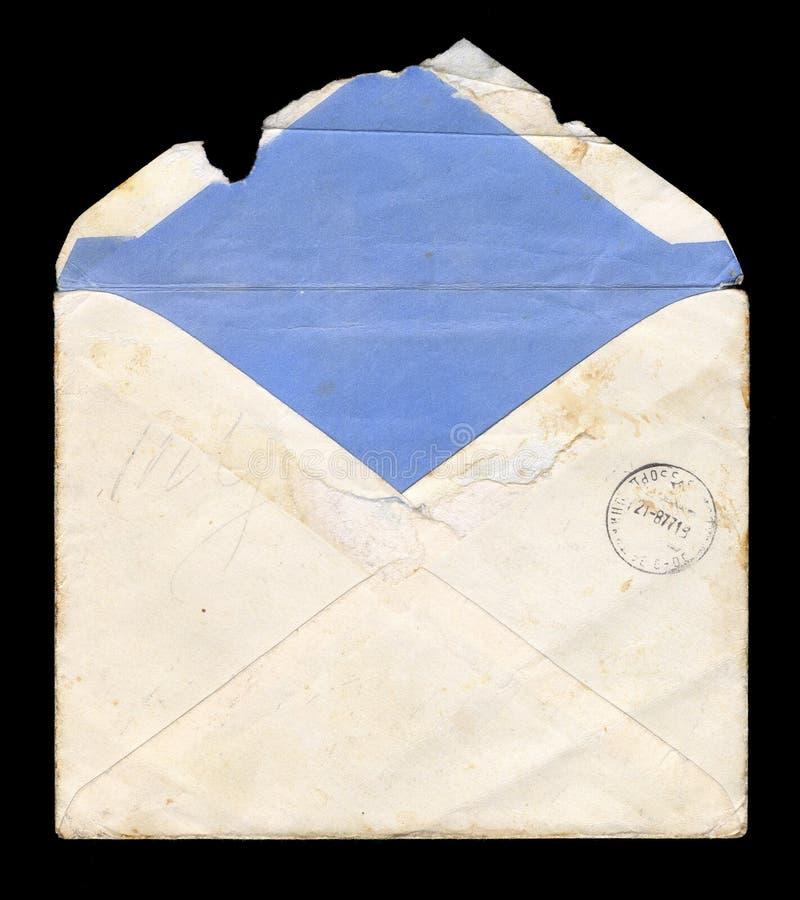Vieille, usée et déchirée en lambeaux enveloppe illustration stock