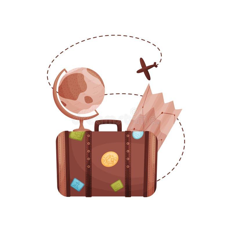 Vieille valise brune avec des autocollants des côtés Illustration de vecteur sur le fond blanc illustration de vecteur