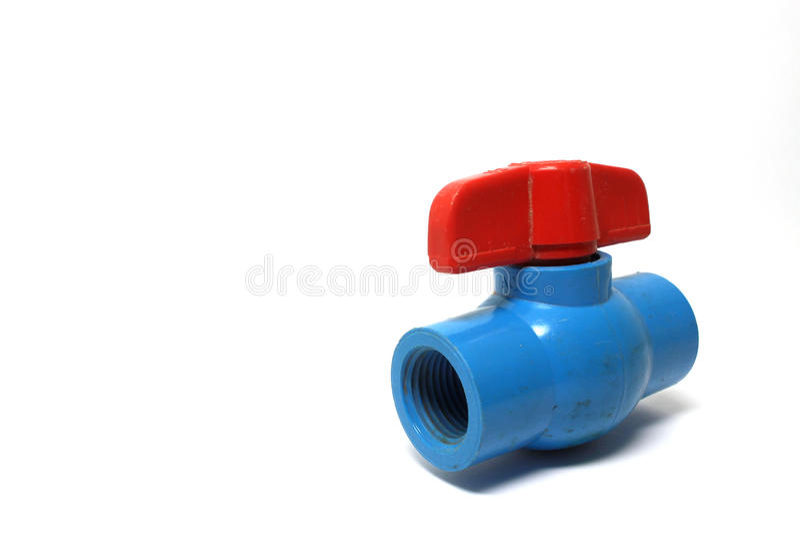 Vieille valve de l'eau de PVC photo stock