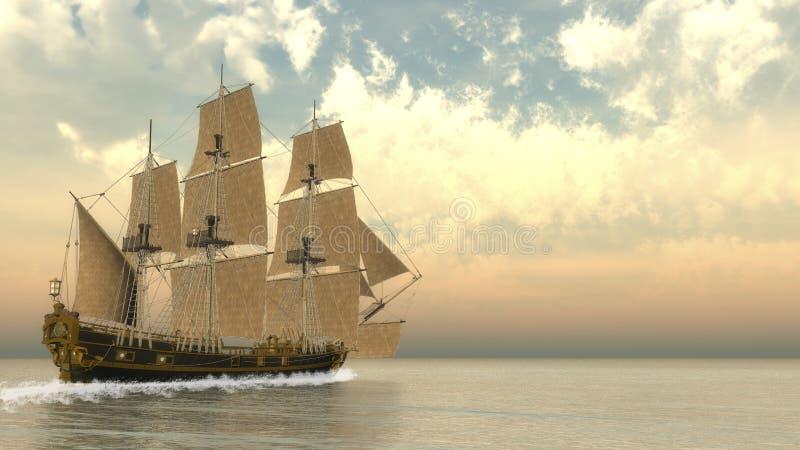 Vieille victoire détaillée du bateau HSM - 3D rendent illustration de vecteur