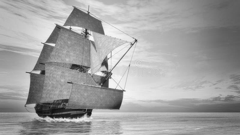 Vieille victoire détaillée du bateau HSM, style de vintage - 3D illustration stock