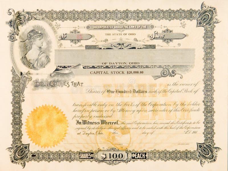 Vieille vignette d'étoile de femme de l'Ohio Etats-Unis de certificat d'actions images stock