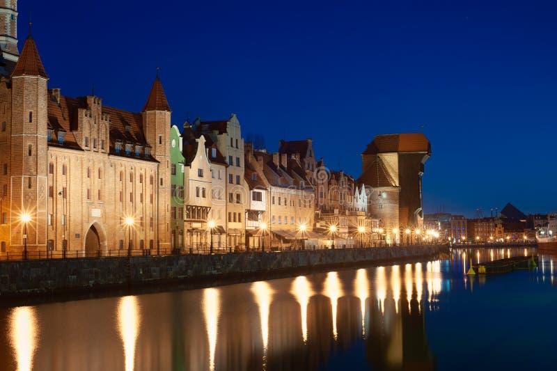 Vieille ville à Danzig la nuit poland photographie stock