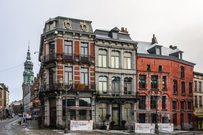 Vieille ville à Mons, Belgique, le capital de la culture image stock