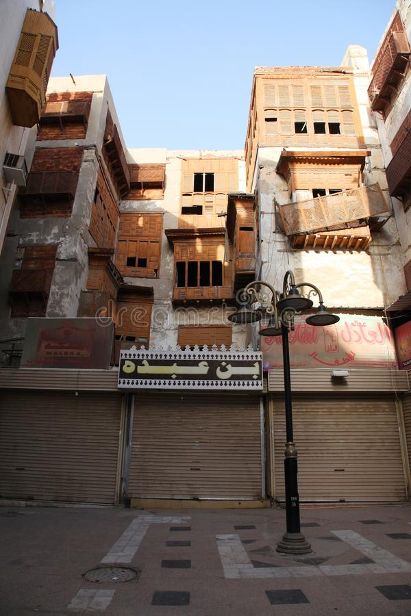 Vieille ville dans Jeddah, Arabie Saoudite connue sous le nom de ` historique de Jeddah de ` Bâtiments et routes vieux et d'hérit image libre de droits