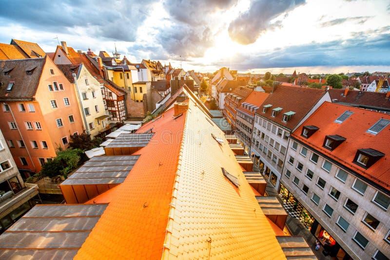 Vieille ville dans la ville de Nurnberg, Allemagne images libres de droits