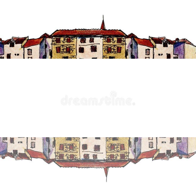 Vieille ville dans le style de croquis et d'isolement sur le fond blanc, crayon coloré images stock