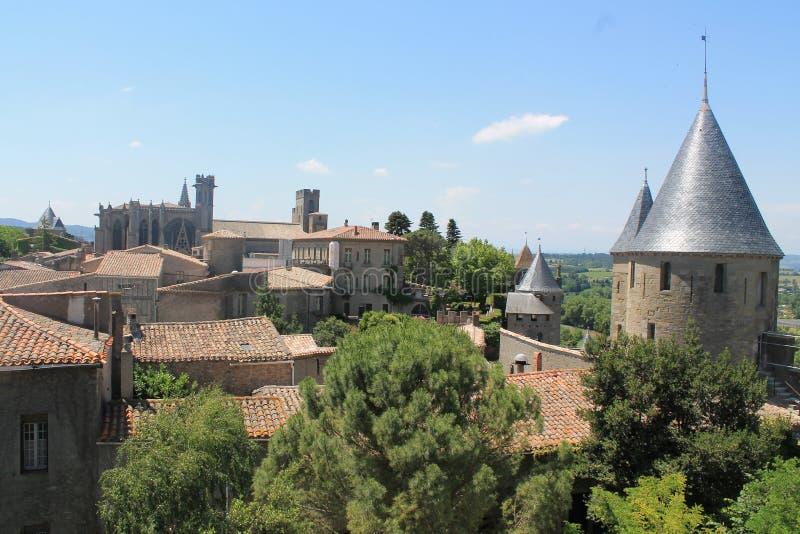 Vieille ville de Carcassonne images libres de droits