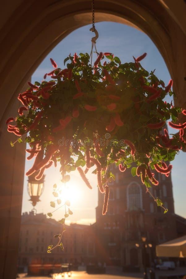Vieille ville de Cracovie, place du marché avec l'église du ` s de St Mary au lever de soleil, paysage urbain central historique, image stock