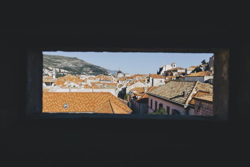 Vieille ville de Dubrovnik au coucher du soleil, Dalmatie, Croatie photos stock
