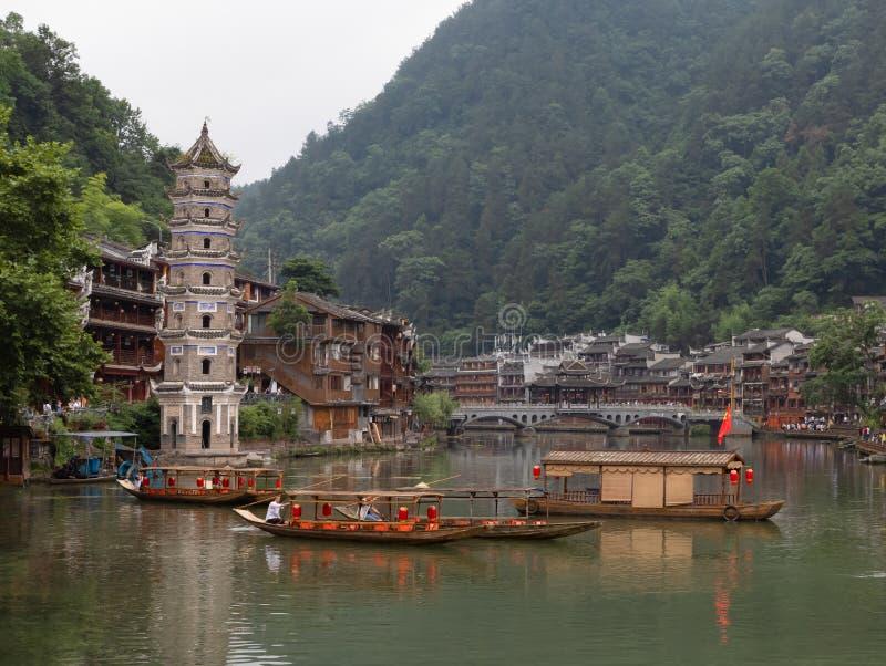 Vieille ville de Fenghuang ou ville de Phoenix, Hunan occidental, Chine image stock
