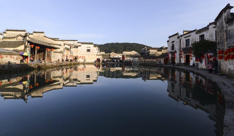 Vieille ville de l'eau de village de Hong Cun image libre de droits