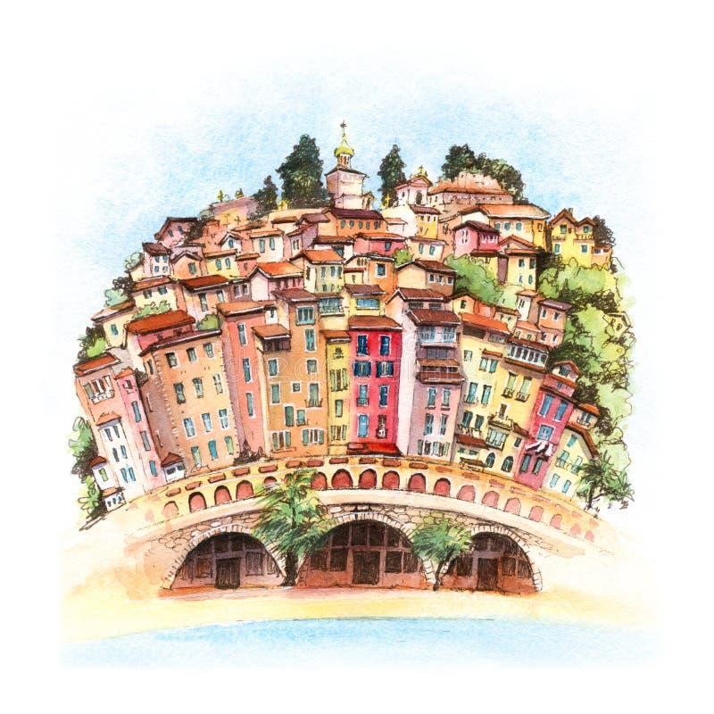 Vieille ville de Menton, France image libre de droits