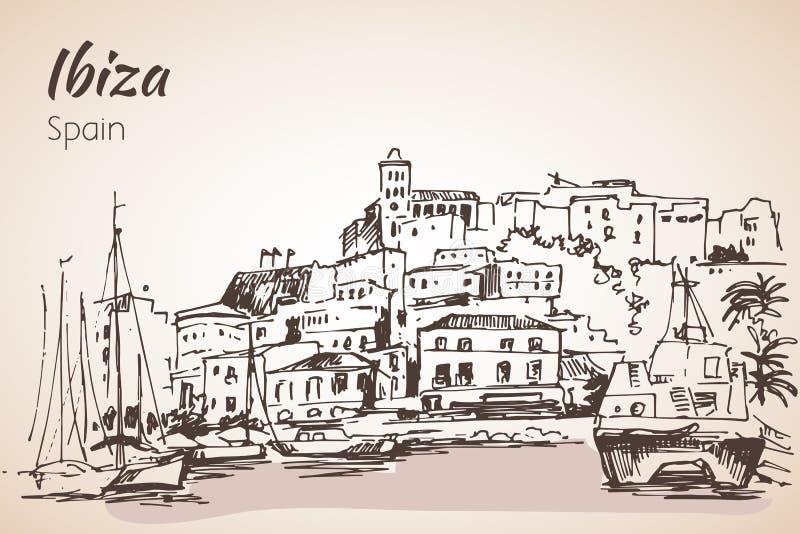 Vieille ville de ville d'Ibiza, Îles Baléares, Espagne, l'Europe Ibiza c illustration de vecteur