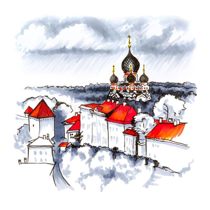 Vieille ville de vue aérienne, Tallinn, Estonie illustration stock