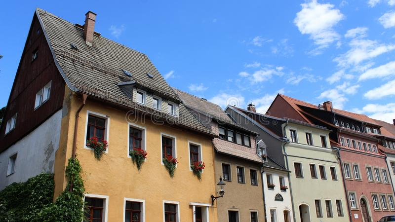 Vieille ville historique de Freiberg et de style local de bâtiment photos stock