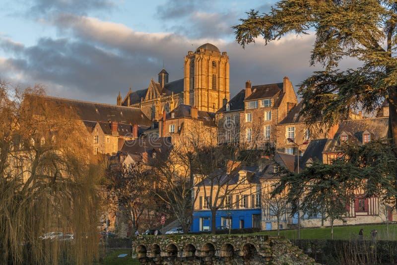 Vieille ville historique de Le Mans images libres de droits