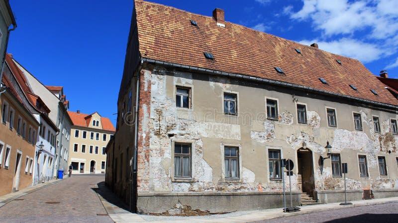 Vieille ville historique vide de Freiberg images stock