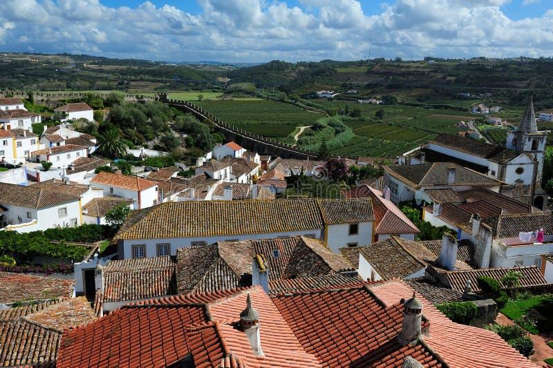 Vieille ville médiévale Obidos, Portugal image libre de droits