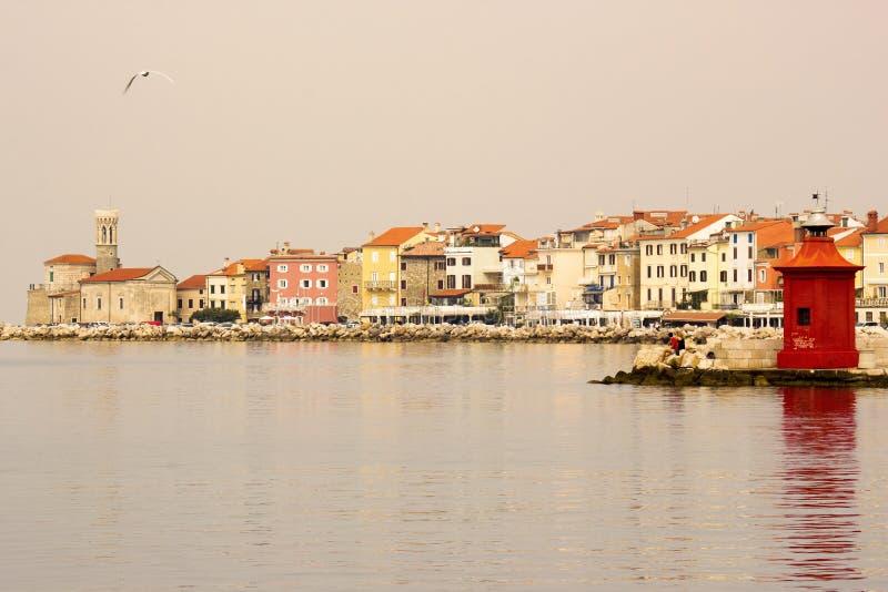 Vieille ville Piran - belle côte de l'Adriatique de Slovène photographie stock libre de droits