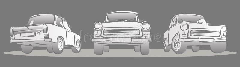 Vieille voiture Allemand de l'Est, trois vues illustration libre de droits