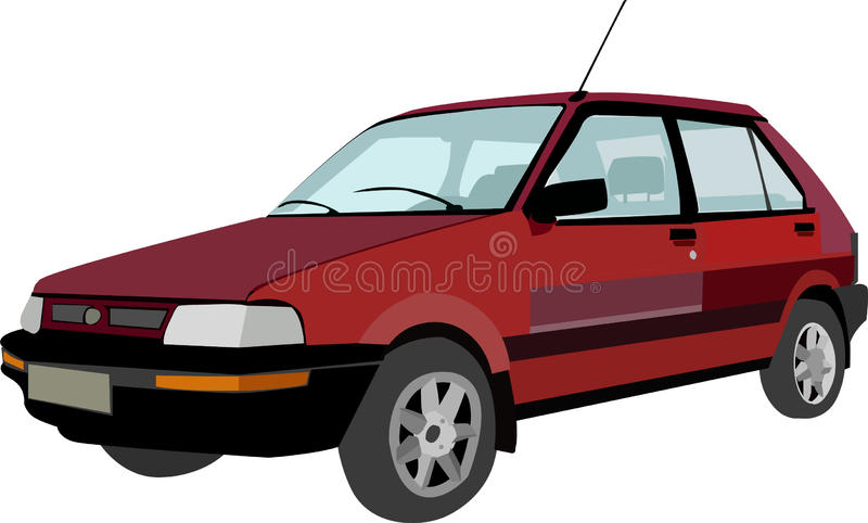 Vieille voiture rouge photo stock