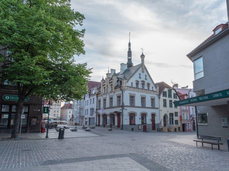 Vieille vue de début de la matinée de ville de l'Estonie Tallinn photo libre de droits