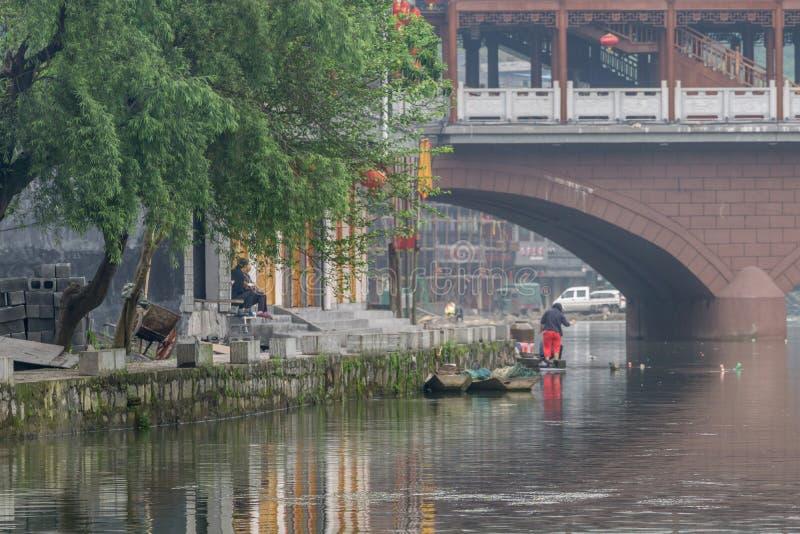 Vieille vue de matin de ville de Fenghuang photo stock