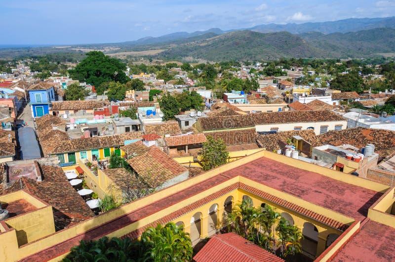 Vieille vue de ville de San Francisco Convent au Trinidad, Cuba photo stock