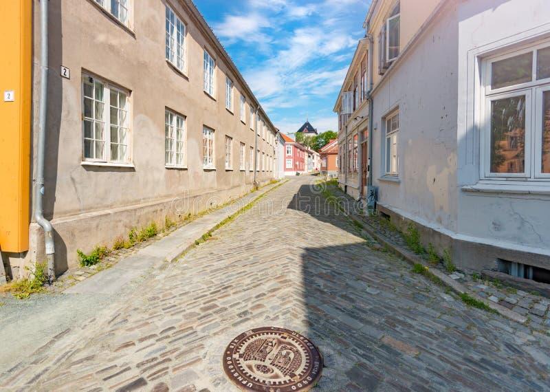 Vieille vue de ville de Trondheim La Norvège, Scandinavie, l'Europe photos stock