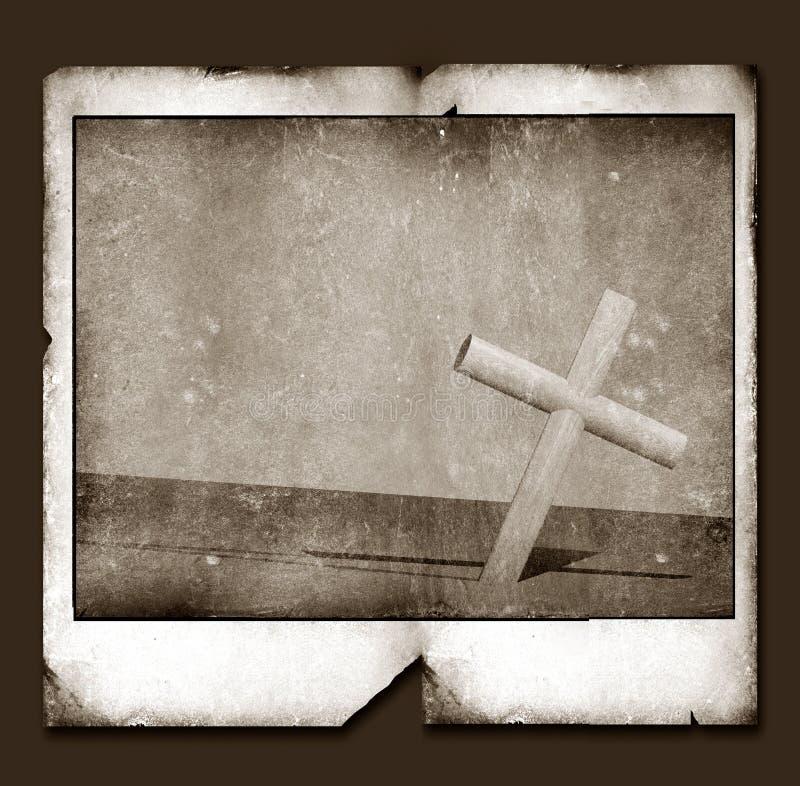 Vieille vue polaroïd avec la croix sainte illustration libre de droits