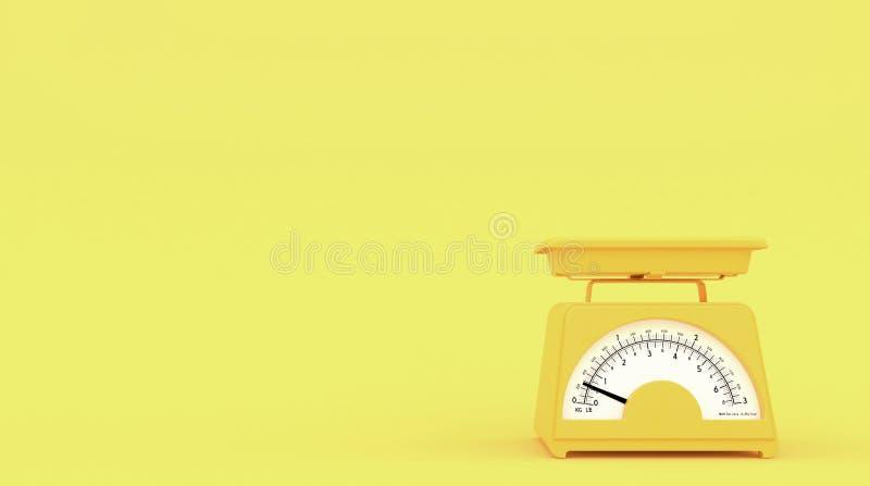 Vieilles échelles jaunes de poids de cuisine sur le fond jaune avec l'espace libre pour le texte ou le logo Copiez l'espace rendu illustration libre de droits