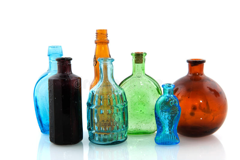 Vieilles bouteilles en verre photographie stock