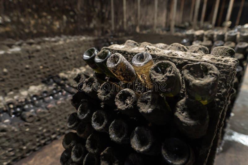 Vieilles bouteilles poussiéreuses de vin mousseux vieillissant dans un vieil établissement vinicole au Moldova images libres de droits